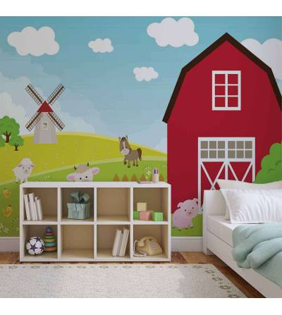 Farm Cartoon Boys Hálószoba - Farm Cartoon Boys Bedroom fotó poszter tapéta (2977WM)